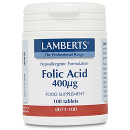 LAMBERTS Folic Acid (Easy-To-Swallow Tablets) - 100 x 400mcg Tablets