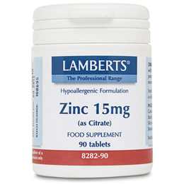 LAMBERTS Zinc (as Citrate) - 90 x 15mg Tablets