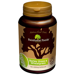 Rainforest Foods Organic Barley Grass & Wheatgrass - 140 x 500mg Caps