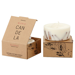Munio Candela Scented Soy Wax Candle - Cinnamon Aroma - 220ml