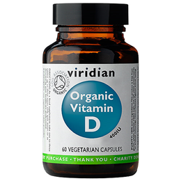 Viridian Organic Vitamin D 400iu - Organic Mushrooms - 60 Vegicaps
