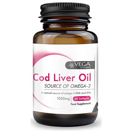 Vega Nutritionals Cod Liver Oil 1000mg - Extra Strength - 60 Capsules - Best before date is 30th April 2018