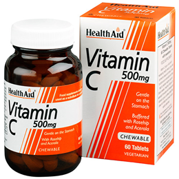 HealthAid Vitamin C 500mg - Rosehip & Acerola - 60 Chewable Tablets