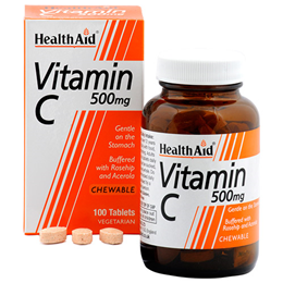 HealthAid Vitamin C 500mg - Rosehip & Acerola - 100 Chewable Tablets