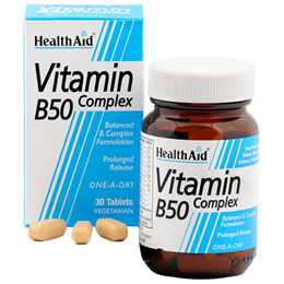 HealthAid Vitamin B50 Complex One-A-Day - 30 Vegan Tablets