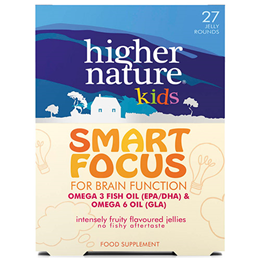 Higher Nature Kids Smart Focus - Omega 3 - Brain Function - 27 Jellies