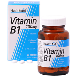 HealthAid Vitamin B1 - Thiamin - 90 x 100mg Vegetarian Tablets