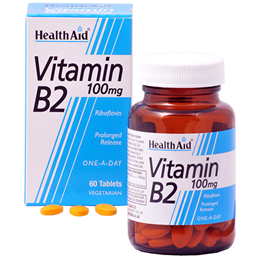 HealthAid Vitamin B2 - Riboflavin - One A Day - 60 Vegetarian Tablets