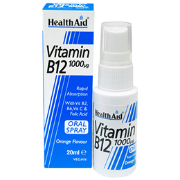 HealthAid Vitamin B12 - Cyanocobalamin - Orange Flavour - 20ml Spray