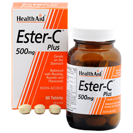 HealthAid Ester C  Plus - Non Acidic - 500mg x 60 Vegan Tablets