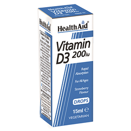 HealthAid Vitamin D3 200iu - Drops - Strawberry Flavour - 15ml