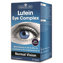 Natures Aid Lutein Eye Complex with Bilberry & ALA - 30 Tablets