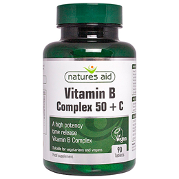 Natures Aid High Potency Vitamin B Complex + Vitamin C - 90 Tablets