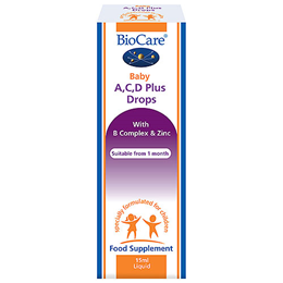 BioCare Baby A, C, D Plus Drops - With B Complex & Zinc - 15ml Liquid