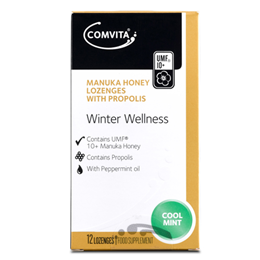 Comvita Manuka Honey - Cool Mint - Winter Wellness - 12 Lozenges