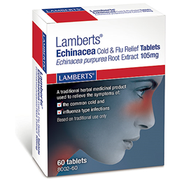 LAMBERTS Echinacea - Cold and Flu Relief - 60 Tablets  - Best before date is 31st October 2016
