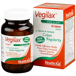 HealthAid Vegilax - Colon Health -  Rhubarb Extract - 30 Vegan Tablets