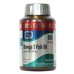 Quest Omega 3 Fish Oil Concentrate 100% Extra FREE 45+45 x 1000mg Caps