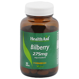 HealthAid Bilberry 275mg Equivalent - 30 Vegan Tablets - Best before date is 31st January 2017
