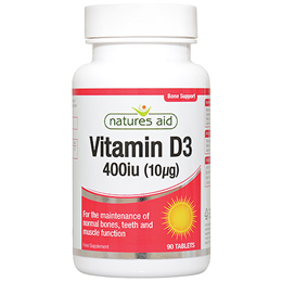 Natures Aid Vitamin D3 400iu - 90 x 10mcg Tablets