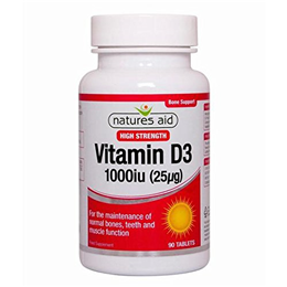 Natures Aid High Potency Vitamin D3 1000iu - 90 x 25mcg Tablets