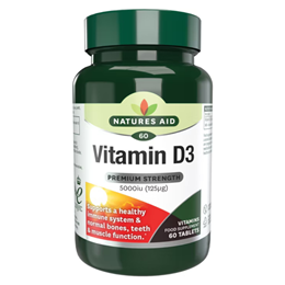 Natures Aid High Strength Vitamin D3 5000iu - 60 x 125mcg Tablets