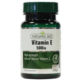 Natures Aid Natural Source Vitamin E 500iu - 60 x 335mg Softgels - Best before date is 31st December 2016