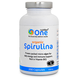 One Nutrition Organic Spirulina - 200 x 500mg Capsules - Best before date is 10th July 2017