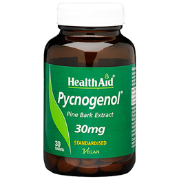 HealthAid Pycnogenol - Pine Bark Extract - 30 x 30mg Vegan Tablets