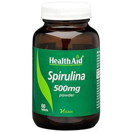 HealthAid Spirulina 500mg Powder - 60 Vegan Tablets - Best before date is 31st March 2019