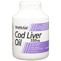 HealthAid Cod Liver Oil 180 x 550mg Capsules