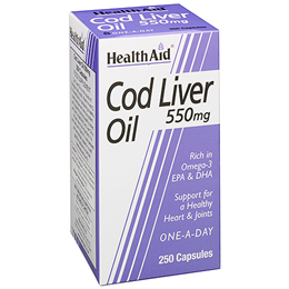 HealthAid Cod Liver Oil - 250 x 550mg Capsules