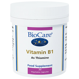 BioCare Vitamin B1 - Thiamine - 30 x 100mg Vegicaps - Best before date is 30th September 2016