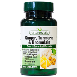 Natures Aid Ginger, Turmeric and Bromelain - 60 Tablets