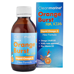Cleanmarine Krill Oil for Kids - Orange Burst - Omega 3 Liquid - 150ml
