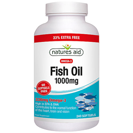 Natures Aid Fish Oil - Omega 3 - 33% EXTRA Free 180 + 60 Softgels