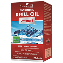 Natures Aid Omega 3 Krill Oil - EPA + DHA - 60 x 500mg Softgels