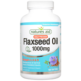 Natures Aid Cold Pressed Flaxseed Oil - 180 Vegicaps