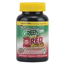 Natures Plus Source of Life Green & Red Multivitamin-180 Mini Tablets  - Best before date is 30th November 2016