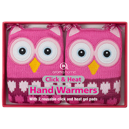 Aroma Home Knitted Pink Owl Hand Warmers