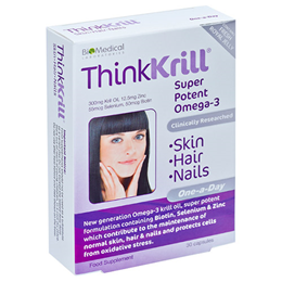 ThinkKrill - Skin, Hair & Nails - Super Potent Omega-3 - 30 Capsules  - Best before date is 30th November 2016