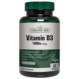 Natures Aid Vegan Vitamin D3 - 60 x 1000iu Tablets