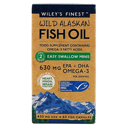 Wiley`s Finest Wild Alaskan Fish Oil - 60 x 450mg Easy Swallow Mini Capsules