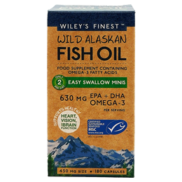 Wiley`s Finest Wild Alaskan Fish Oil - 180 x 450mg Easy Swallow Mini Capsules