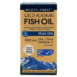 Wiley`s Finest Wild Alaskan Fish Oil - Peak EPA - 60 x 1250mg Capsules