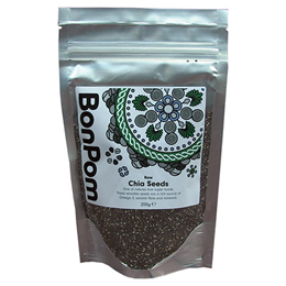 BonPom Raw Chia Seeds - Omega 3 - 200g - Best before date is 31st August 2017