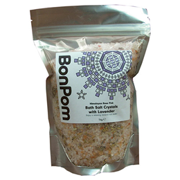 BonPom Himalayan Rose Pink Bath Salt Crystals with Lavender - 1kg