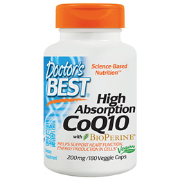 Doctors Best High Absorption CoQ10 - BioPerine - 180 x 200mg Vegicaps