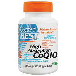 Doctors Best High Absorption CoQ10 - Bioperine - 180 x 400mg Vegicaps