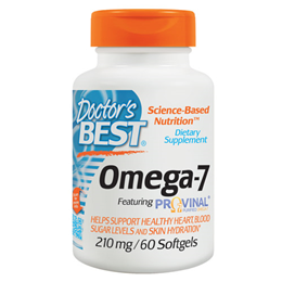 Doctors Best Omega 7 featuring Provinal - 60 x 210mg Softgels - Best before date is 31st December 2017